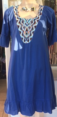 Bell Sleeved Cotton Blue Dress S12